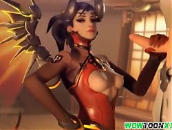 Mercy gives handjob and gets doggystyle sex